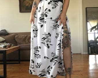 70's Chic White Slit Dress