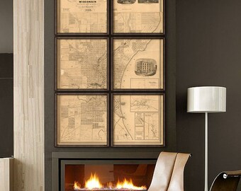 """Milwaukee map 1858 Big vintage map of Milwaukee WI, 6 sizes up to 48x72"""" in 1 or 6 parts, beige, white or blue - Limited Edition of 100"""