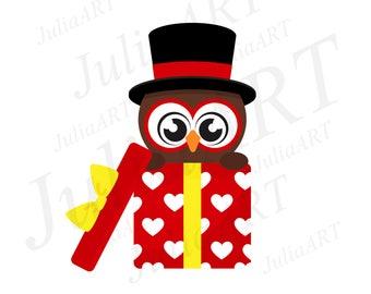 cartoon cute owl in hat gift vector image