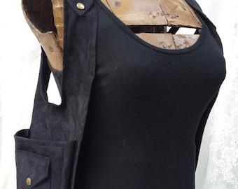 USA made shoulder holster - Burning desert festival shoulder holster - fancy purse vest - black utility vest - Small Wide