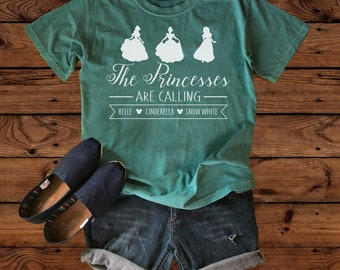 Disney Shirts - The Princesses are Calling - Comfort Colors - Disney Vacation - Disney Family - Belle - Cinderella - Snow White