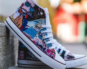 High top hi tops sneakers white canvas shoes vicent van gogh street style grafitti colorful swag painter art