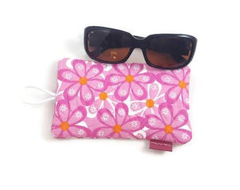 Handmade Quilted Front Cotton Fabric Sunglasses Case With Elastic and Button Closure - Pink and White Flowers