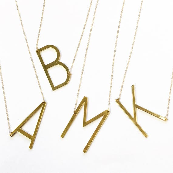 Letter Necklace Sideways Initial Necklace Initial Necklace