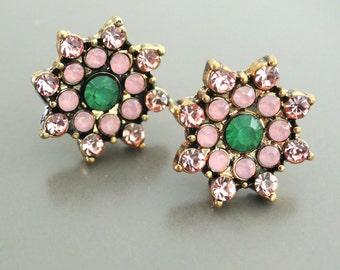 Opal Earrings - Pink Earrings - Rhinestone Earrings - Flower Earring - Stud Earrings - Pink Earrings - Handmade Jewelry