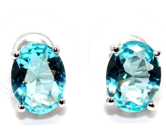 Sterling Silver Sky Blue Topaz 3.45ct Stud Earrings (925) Free Gift Box