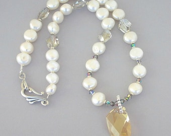 """Gorgeous white pearl necklace, luxe nugget pearl and crystal, Golden Shadow Swarovski necklace, Avant Garde large champagne pendant (1 1/4"""")"""