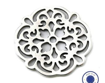 1 x pendant filigree 42 mm - made in Europe - ANTIQUE silver