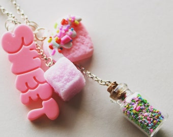 Sweet Necklace, Candy Necklace, Kawaii Necklace, Kawaii Jewelry, Pastel Goth, Multi Charm Necklace, Fairy Kei, Sweet Lolita