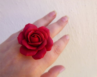 Rose ring Red ring Large  ring Jewelry rose Flower ring Red jewelry Gift for women Cute ring Handmade rose Large rose ring SIZE 6/7/8/9/10