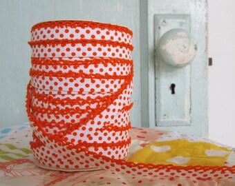 Orange on White Polka Dot Double Fold Crochet Edge Bias Tape (No. 205)