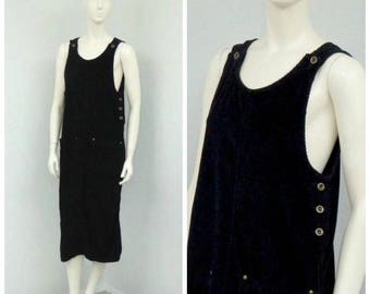 Vintage 90s Black Corduroy Jumper Dress, Overall Jumper, Overall Dress, Skirtalls, Skirt Overalls, Shift Dress, Long Jumper, Corduroy Dress