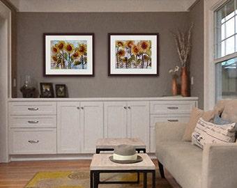 Sunflower Art | Sunflower Prints | Set of Two Sunflower Paintings | Sunflower Decor | Flower Art | Country Decor | Flower Painting collage