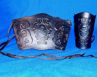 Leather Cameo Edward England Jolly Roger Pirate Bracers