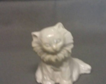 White Sitting Cat Figurine