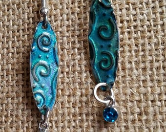 Spirals jewelry embossed, silver blue green patina, hand made earrings, moon heart studios, nature jewelry, accessories spirals
