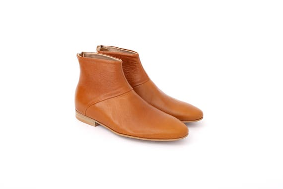 brown shoes handmade free light ADI Kilav camel boots ankle shipping Flat leather Boots Women's booties 8wnqFvXF