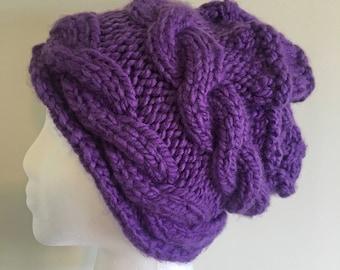 Purple horizontal cable hat; double cable hat; purple cable hat; warm winter hat
