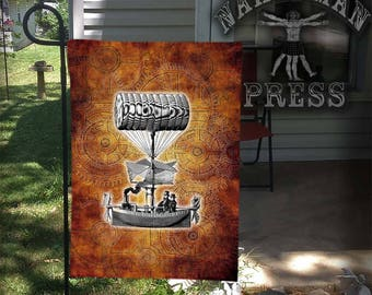 Garden Flag or Tapestry, Steampunk Airship