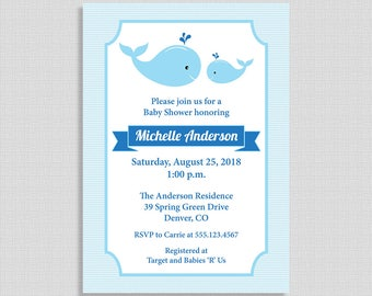 Whale Baby Shower Invitation, Blue Whales Invite, Baby Boy Shower, DIY PRINTABLE