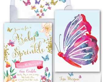 Butterfly Baby Sprinkle Invitation // Butterflies //Flowers // Baby Shower Invitation // Watercolor // Gold Glitter // CORDOBA COLLECTION