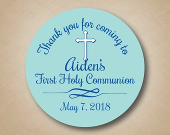 Boys First Communion Stickers Blue First Holy Communion Favor Stickers Personalized Communion Favor Tags Communion Favor Ideas Thank You