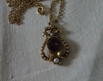 Vintage Avon Gold Tone Necklace with Purple Rhinestone and Faux Pearls - 24 inch