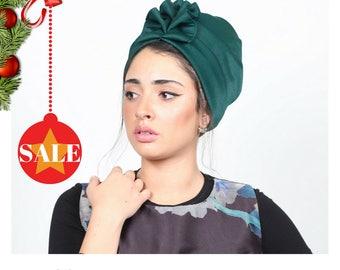 turban headwrap, turban headband, turban women, turban hat, Green turban, full turban, fashion turban, vintage style, retro turban