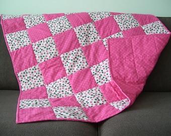 Baby Girl Quilt - Pink, Black, White - Handmade