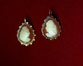 14 kt Vintage Peach Cameo Earrings