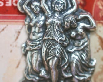 Dancing Fairies Pendant, Sterling Silver Finish, Brass Stampings for Jewelry Making and Crafting, Supplies by Calliopes Attic