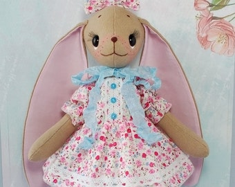 Cloth doll handmade Bunny doll Rabbit doll Bunny stuffed animal Bunny rabbit doll Rabbit toy Rag doll Ragdoll Textile doll Bunny toy plush