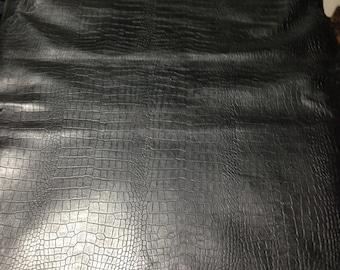 FREE SHIPPING!! Black  Crocodile /Alligator  Embossed Smooth Finished Premium Grade  Lamb skin leather hide