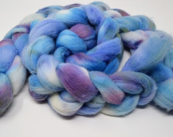 hand dyed roving, hand dyed, Merino Roving, handdyed roving top, felting fiber, spinning fiber, merino top, April Showers