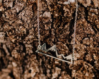Mountain Necklace, Keep Moving Silver Mountain Necklace, Mountain Peaks,