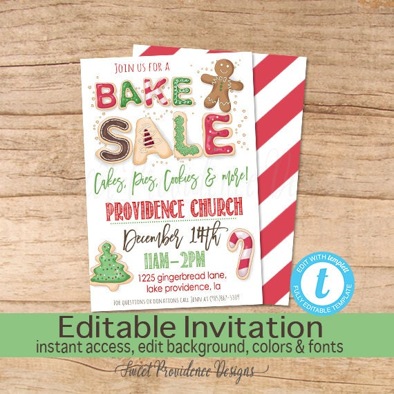 Christmas Bake Sale Flyer, Bake Sale Flyer, Cookies, Holiday, Fundraiser  Flyer, Church, School, Editable Flyer Template, Instant Download