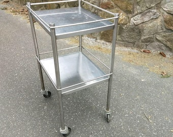 Vintage Compact Stainless Steel Serving Rolling  Cart