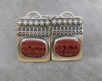 Sage Jasper Ornamental Dangle Earrings, Oxidized Sterling Silver, Scenic Jasper, Natural Stone Drops