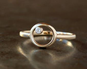 Diamond Orbit Ring, Diamond Circle Ring, Stacking Diamond Jewelry, 14k Yellow Gold, Open Circle Ring, Minimalist Ring, Geometric Jewelry