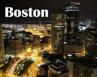 Boston Skyline Boston Art Photography Cityscape City Lights Boston Strong Skyscrapers Night Sky Office Home Decor, Large Wall Art