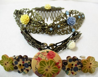 6 Vintage style Hair Barrette Clips  decorated wood buttons hair comb bridal hair comb Wedding Hair Combs & Clips Hair Accessory lot HC1-148