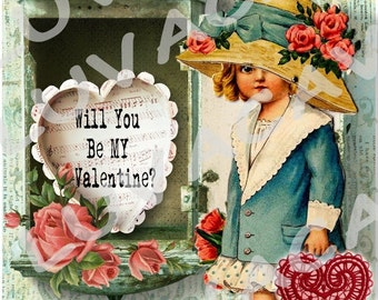 Sweet Handmade Valentine Card/Vintage Girl/Roses/Darling Card