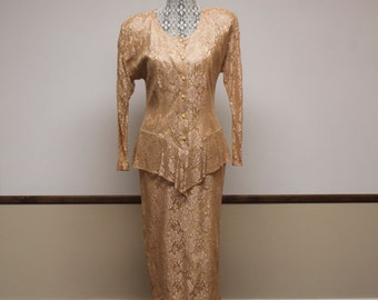Vintage 1980s Dress - Peach Lace Dress with see through sleeves by Datiani size 10