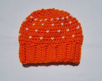 Orange Sweetheart Baby Hat w/ Hearts