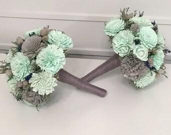 Navy, Mint, Gray Wedding Bouquet made with sola flowers - choose colors - bridal bouquet - Alternative bouquet - bridesmaids bouquet