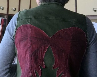 Denim Vest - Green with Red Angel Wings - Inspired by Walking Dead's Daryl - Reused Recycled Repurposed