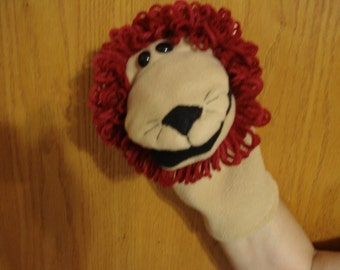 Lion moveable mouth hand puppet fleece fabric and acrylic yarn