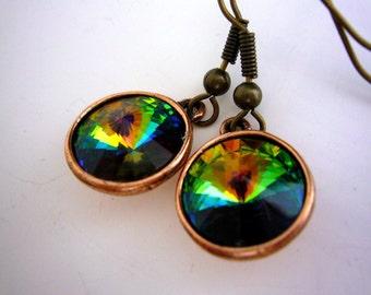 Green Swarovski Crystal Earrings, Vitrail Medium Rivoli Earrings, Multicolor Bridesmaid Earrings, Bridal Party Gift, Bridesmaid Jewelry,