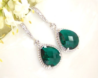 Wedding Jewelry, Emerald Green Earrings, Green, Dark Green, Silver,Cubic Zirconia, Wedding Gifts, Bridesmaids Gifts,Bridesmaid Earrings,Drop