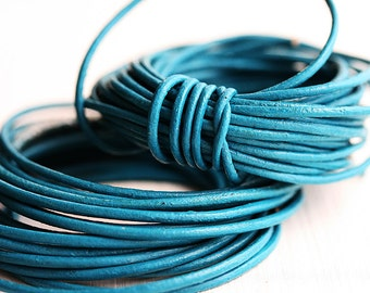1.5mm Round Natural Leather cord - Turquoise - 10 feet, LC023